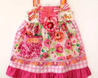 Summer Breeze Floral Apron Dress, Girls dress, toddler dress, birthday dress, summer dress, spring dress