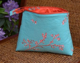 Knitting Bag with Zipper, Coral Knitting Bag