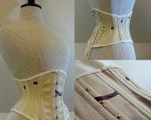 "SAMPLE SALE 19"" waist steel boned waspie corset in cream spot coutil"