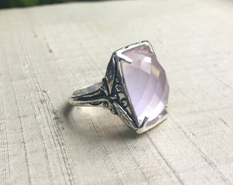 Faceted Rose Quartz and Sterling Dragonfly Ring