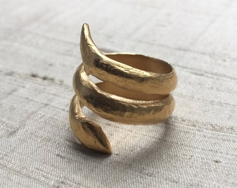 The Wisdom of Snakes Ring- 14kt Gold Plated Bronze