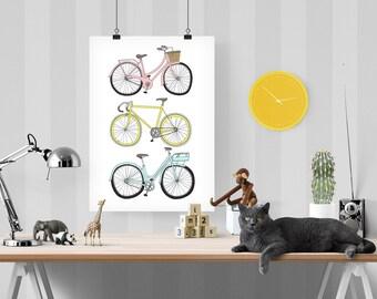 Bikes Decorative Illustration Art Poster