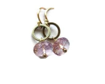 Pink Amethyst  Earrings, Silver Gemstone Earrings, Holiday gift, lavender  gemstone earrings, wire wrapped dangle earrings