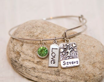 Gift for sister, sister bangle bracelet, Sister charm bracelet, sister charm jewelry, sister bracelet, sister charm, tree of life jewelry
