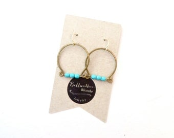 Turquoise Dangle Earrings // Wire Wrapped Jewelry // Hammered Hoop Earrings // Western Jewelry // Made in Montana // Gifts For Her