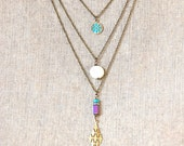 Layering bohemian charm necklace. Tiedupmemories