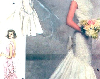 80s wedding dress Brides fishtail gown vintage sewing pattern Butterick 5941 Size 8