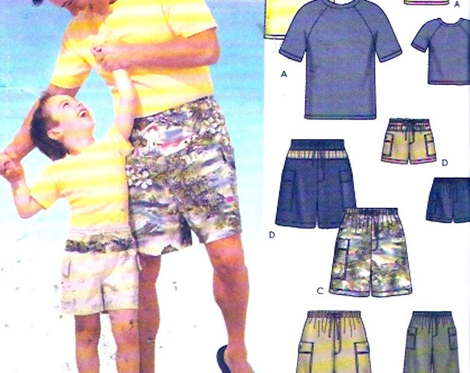 Father Son shirts Mens and boys shorts knit t shirt top sewing pattern McCalls 5976 Boys Sm to LG Mens Small to XL UNCUT Fathers day gifts