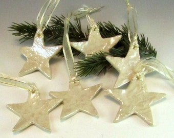 Delicate White Lace Star Christmas Ornament / White Christmas Ornament/Set of 6