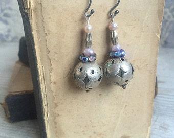 Boho Bride Earrings, Vintage Tribal Beads Rhinestones Pearls Drop Earrings Dangle Gypsy