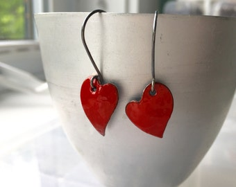 Red Heart Earrings, Enameled Earrings, Rustic Earrings, Funky Heart Earrings, Red Earrings, Asymmetrical Earrings, Copper Jewelry