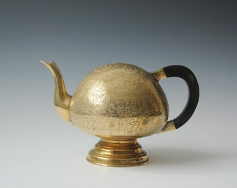 Mystery solid brass teapot without the opening - Bohemian decor accent conversation piece