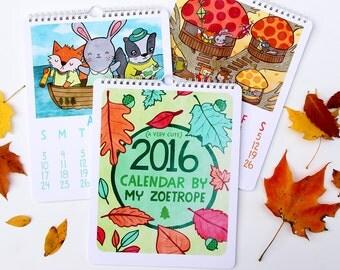 2016 Calendar  8x10 Illustrated Art Wall Calendar