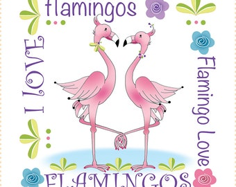"AP6.13 - Flamingo Love - 6"" Fabric Art Panel"