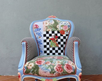Alice in Wonderland Armchair Flowers and Woodwork Bohemian Magical Fairy tale Furniture Vintage Embroidery, Cheshire cat, Queen of Hearts