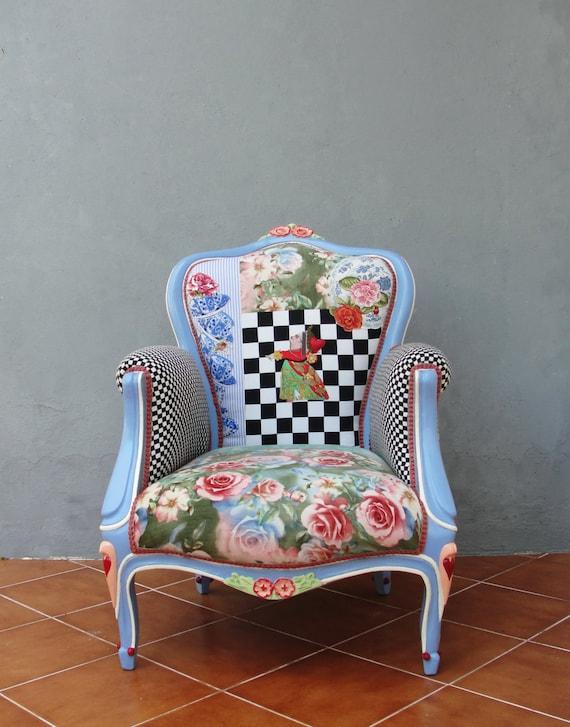 Alice In Wonderland Armchair Flowers And Woodwork Bohemian