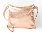 Custom Handmade Copper Rose Gold Leather Shoulder Bag RESERVED