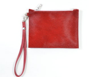 Mimi - Handmade Red Hair On Hide Leather Clutch Bag Zip Pouch Purse AW17