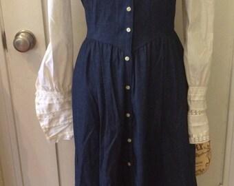 1970s Vintage Gunne Sax Dress, 70s Prairie Dress, NWT Demin Boho, Jessica McClintock, Victorian Renn Faire, Hippie Gown, Hippy Festival
