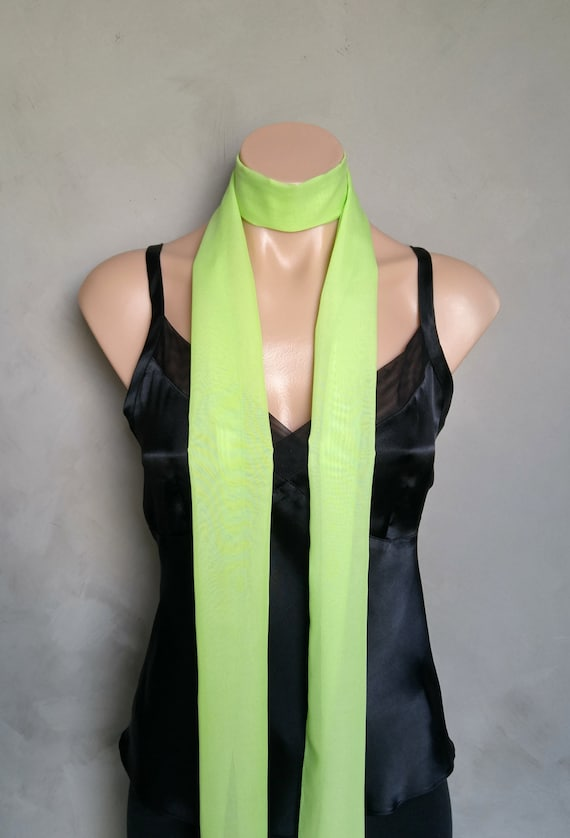 Green Scarf, Mint Green Sheer Chiffon Skinny Scarf Daphne Costume Scarf, Thin Skinny Scarf,  Daphne Green Scarf Light Mint Scarf Sheer Green