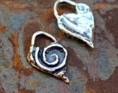 Heart Charm in Sterling Silver,  Heart Charm with Broken Spiral, Giving Heart