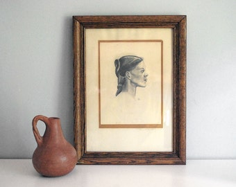 1940s Original Portrait, Vintage Pencil Drawing, Young Woman Profile, Framed Original Art, Oak Wood Frame, Signed Art, Wall Hanging