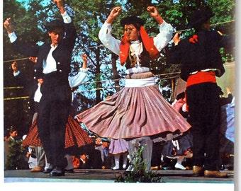 Portugal Travel Poster, 1960s Folk Dancers, Original Vintage Poster, Folclore, Retro Photograph, Wall Hanging, Europe Souvenir, Ephemera