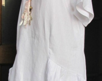 Ladies White 100% Linen plus size short sleeve ruffle tunic dress