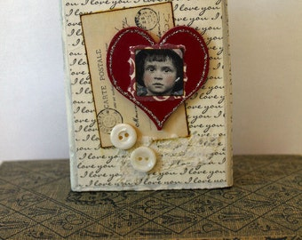I Love You Wooden Block Mixed Media Collage Art