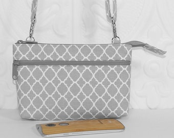 Crossbody Wallet Purse, Cell Phone Cross Body Wallet, iPhone 6 Clutch Wallet, Fits All Cell Phones / Light Gray Lattice with Choice Colors