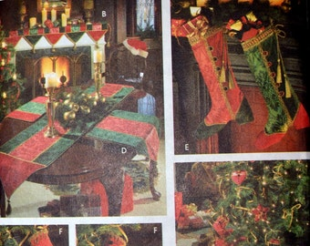 Sewing Pattern Simplicity 9748 Christmas Decorating Complete Tree Skirt Ornaments Stockings