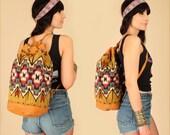 ViNtAgE Tribal KILIM Backpack // Colorful Handwoven Brown Leather // Feather Arrow Detail // Artisan Handbag Weekender Festival Bag