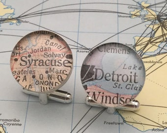 Personlized Custom Map Cufflink, Sterling  Silver, Keep a Memory Alive