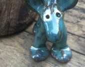 Ceramic Dog Blue Green