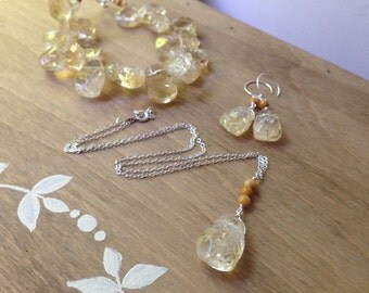 RESERVED Light Yellow Necklace Pendant . November Birthday Gift . Citrine Yellow Necklace