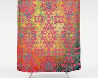 Mystic Coral fabric shower curtain- geometric design- orange- coral-peach-yellow- modern bathroom decor-home decor- modern boho design