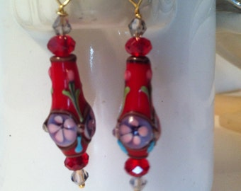 Hearts & Flowers Earrings with Lampwork Glass Beads in White, Black or Red with Pink and  Lavendar Flowers and Matching Crystal Beads