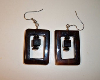 Black Glass Earrings, Rectangle Black Glass Earrings, Black Square Beads and Crystals Earrings, Rectangle Glass Beads & Square Glass Beads