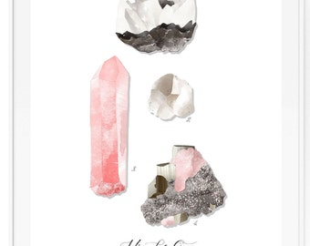 Minerals & Gems Study Vol4 - Rose Quartz - Beautifully textured cotton canvas art print. Order as a 5x7 8x10 11x14 or 16x20 size.