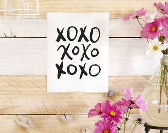 xOxO- Beautifully textured cotton canvas art print. Order as an 8x10 11x14 or 16x20 size.