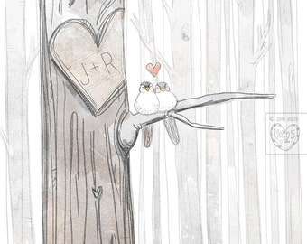 CUSTOMIZE Your Own- Love Birds- Order as an 8x10 11x14 or 16x20 size.