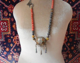 Bohemian Wanderer necklace, lovely coral hued sherpa coral beads, antique trade beads
