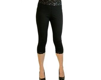 Black Cotton Spandex Lace-Waist Capris XS S M L XL 2XL 3XL plus size stretch high waist high-waisted leggings with Black Lace Trim