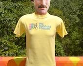 70s vintage t-shirt the RUNNERS FORUM running rainbow indiana run Medium Small gold