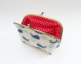 Cosmetic bag, blue and white whale fabric, cotton purse