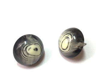 Black and Ivory Studs | Agate Stripe Stud Earrings | Retro Button Studs | vintage lucite post earrings