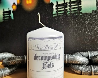 Decomposing Eels Apothecary Bottle Label 2x3 Pillar Candle