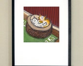 """Caught in a Cuddle - two cats in cat bed - signed print 10x10"""" in 16x20"""" matte"""