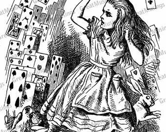 Vintage Alice in Wonderland clip art black and white digital download image graphics No.0048