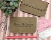 Soft Light Brown Business Card Holder, Leather Card Holder Personalized --32002-BC02-109
